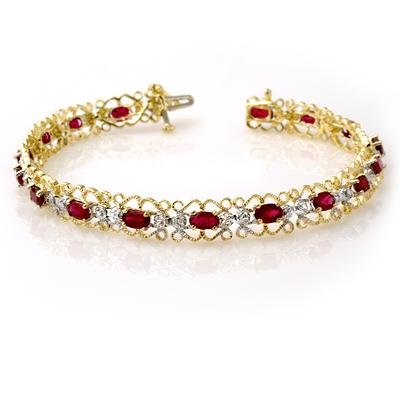 Certified 4.22ctw Ruby & Diamond Bracelet Yellow Gold