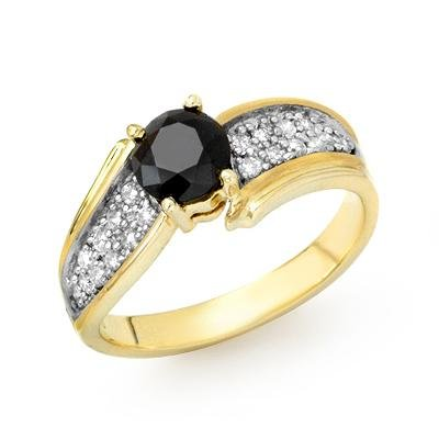 Solitaire 1.4ctw White & Black Diamond Ring Yellow Gold