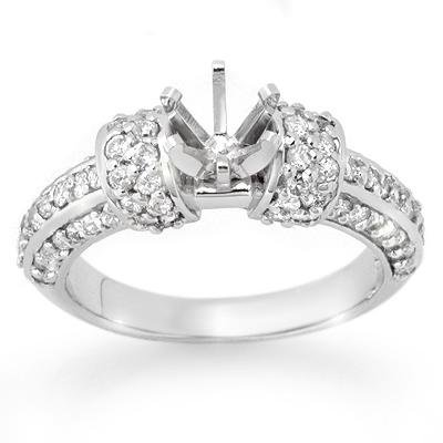 Certified .75ctw Diamond Semi Mount Ring White Gold