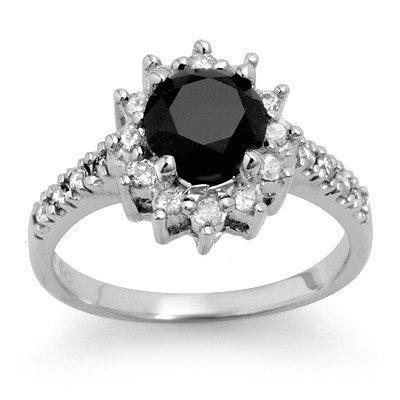 ACA Certified 2.45ct White/Black Diamond Ring 14K Gold