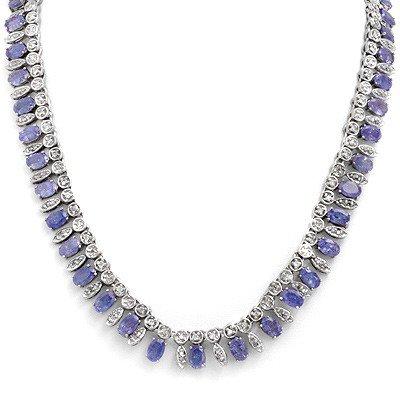 Certified 34.0ctw Tanzanite & Diamond Necklace Gold