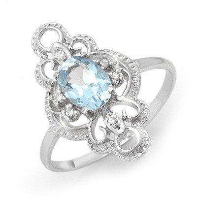 Certified .83ctw Blue Topaz & Diamond Ring White Gold