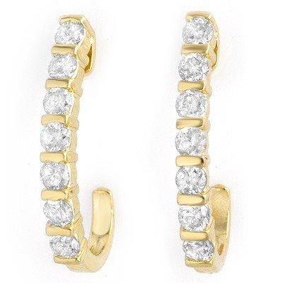 Overstock .75ctw Diamond Hoop Earrings 14K Yellow Gold