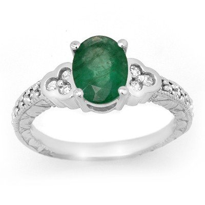 Overstock 2.29ctw Emerald Diamond Ring 14K White Gold