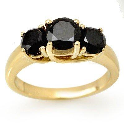 Overstock 2.5ct Three-Stone Black Diamond Ring 14K Gold