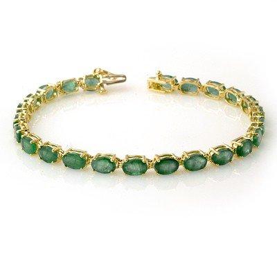 Certified 14.0ctw Emerald Tennis Bracelet Yellow Gold