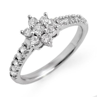 Certified 0.68ctw Diamond Anniversary Ring White Gold