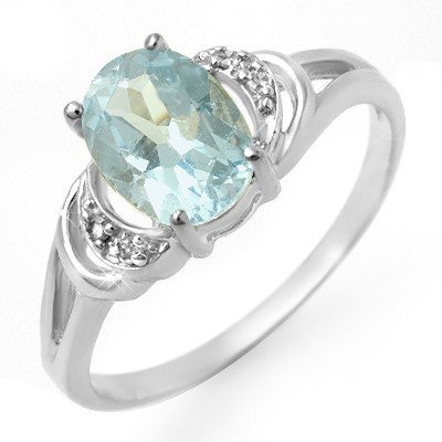Certified 1.06ctw Blue Topaz & Diamond Ring White Gold
