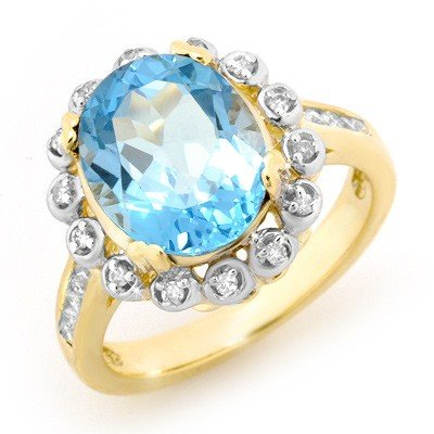 Overstock 5.33ct Certified Blue Topaz Diamond Ring Gold