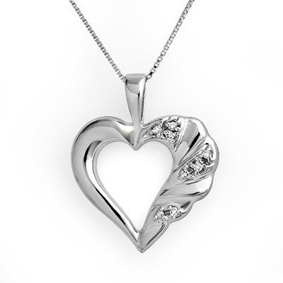 Certified 0.12ctw Diamond Heart Pendant White Gold