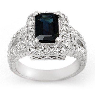 ACA Certified 3.0ctw Sapphire & Diamond Ring 14K Gold