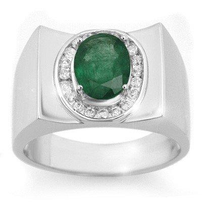 Men's 2.33ctw Diamond & Emerald Ring Solid White Gold