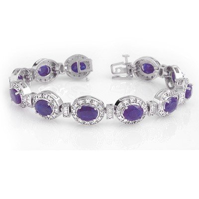 Overstock 16.0ctw Tanzanite & Diamond Tennis Bracelet
