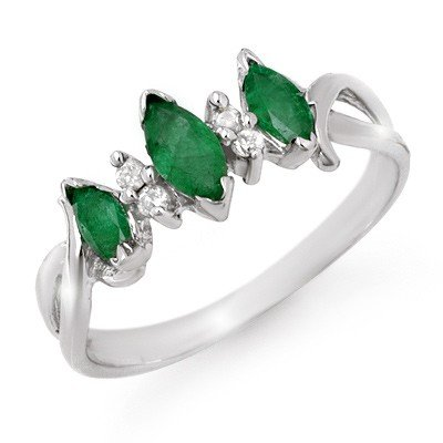 Certified .57ctw Emerald & Diamond Ring White Gold