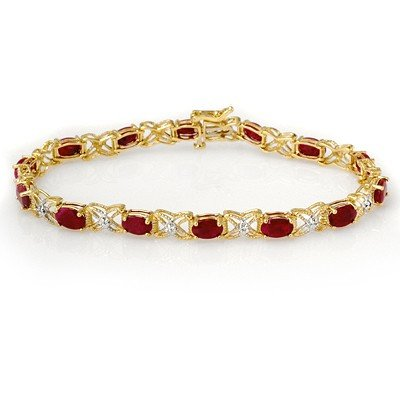 Certified 8.55ctw Ruby & Diamond Bracelet Yellow Gold