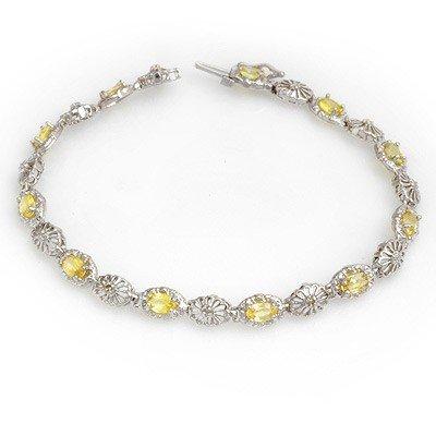 Rare 3.42ctw Yellow Sapphire & Diamond Bracelet Gold