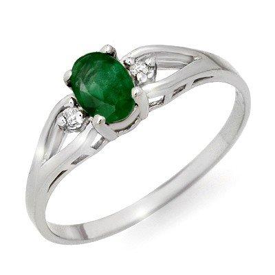 Certified .56ctw Emerald & Diamond Ring White Gold