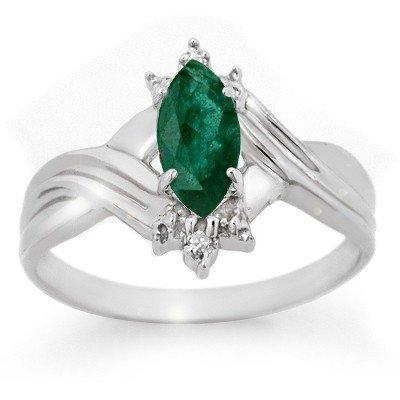 Certified 0.57ctw Emerald & Diamond Ring White Gold