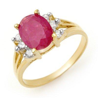Certified 2.48ctw Ruby & Diamond Ring 14K Yellow Gold