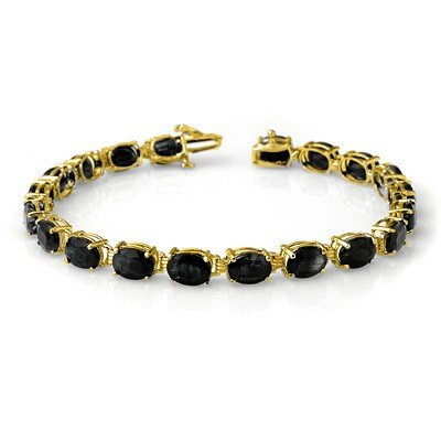 Genuine 35.0ctw Sapphire Tennis Bracelet Yellow Gold