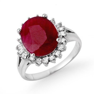 Genuine 4.4ctw Ruby & Baguette Diamond Ring White Gold
