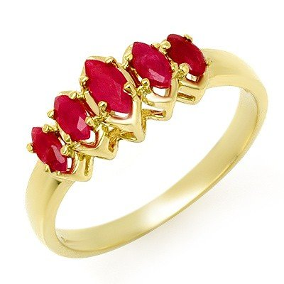 Certified Five-Stone 0.50ctw Ruby Ring Yellow Gold