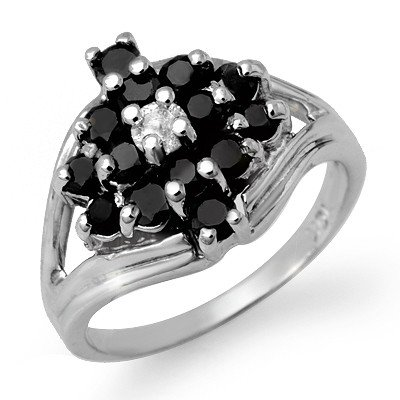 Certified 1.01ctw White & Black Diamond Ring White Gold