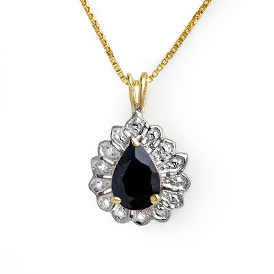 Certified 1.10ctw Sapphire Ladies Pendant Yellow Gold