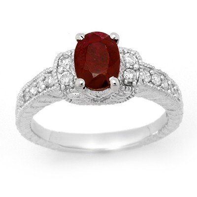 Certified 2.13ctw Ruby & Diamond Ring 14K White Gold