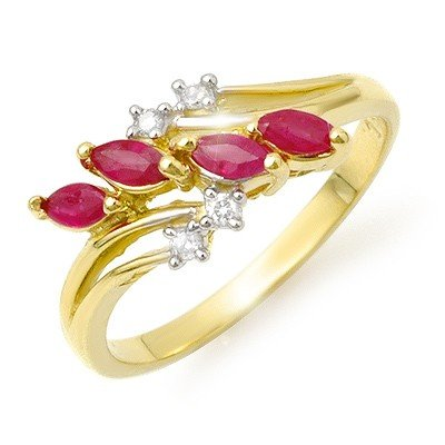 Certified .40ctw Diamond & Ruby Ladies Ring Yellow Gold