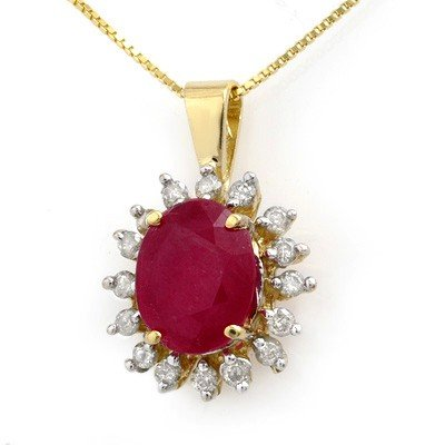 Certified 5.32ctw Ruby & Diamond Pendant Yellow Gold