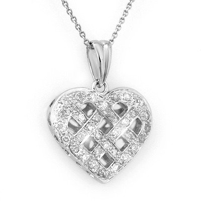 Certified 0.38ctw Diamond Heart Necklace 14K White Gold