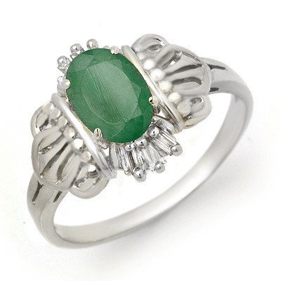 Certified 0.81ctw Emerald & Diamond Ring White Gold