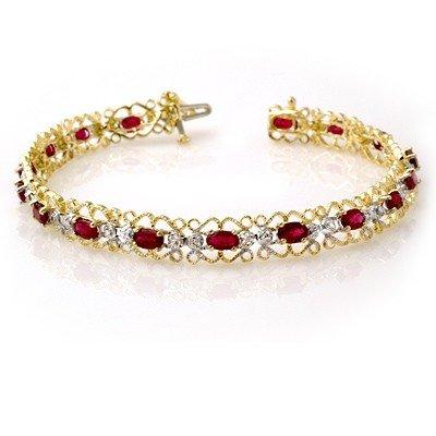 Certified 4.22ctw Ruby & Diamond Bracelet Yellow Gold