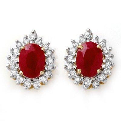 Certified 4.44ctw Diamond & Ruby Stud Earring 14K Gold