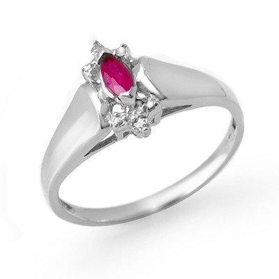 Certified 0.22ctw Diamond & Ruby Ladies Ring White Gold