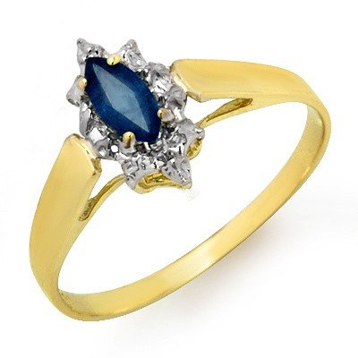 Certified .33ctw Sapphire Ladies Ring Yellow Gold