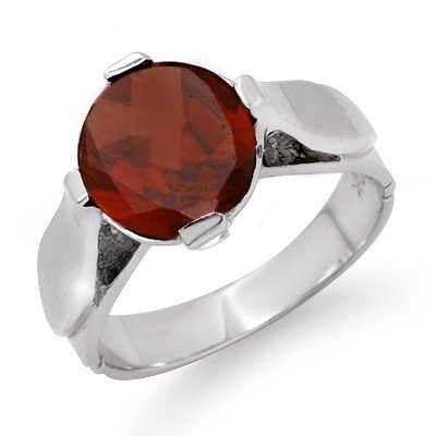 Antique Style 3.5ctw Garnet Ladies Ring White Gold