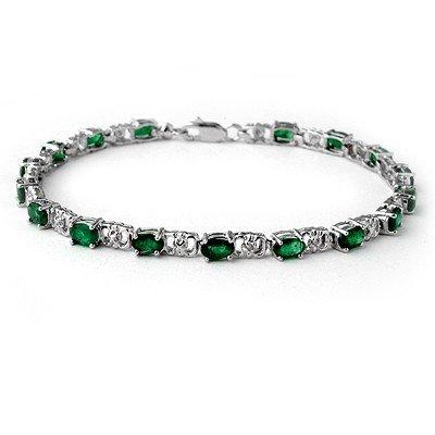 ACA Certified 5.02ctw Emerald & Diamond Tennis Bracelet