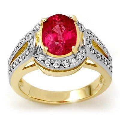 ACA Certified 3.50ctw Pink Sapphire & Diamond Ring Gold