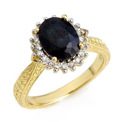 Certified 3.15ctw Sapphire & Diamond Ring Yellow Gold