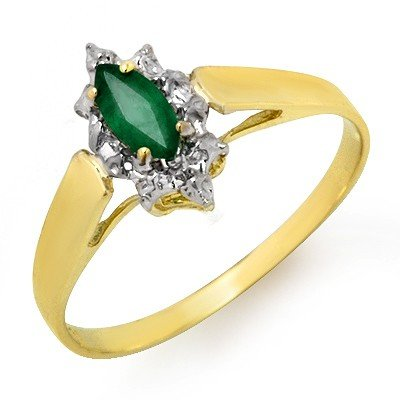 Certified 0.25ctw Emerald Ladies Ring Yellow Gold