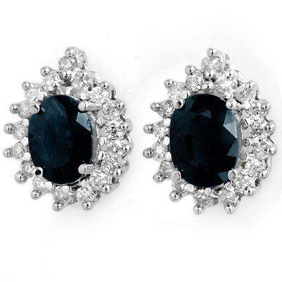 Certified 3.87ctw Sapphire &Diamond Earrings  14KW Gold