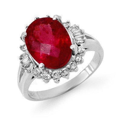 Certified 3.56ctw Diamond & Rubellite Ring White Gold