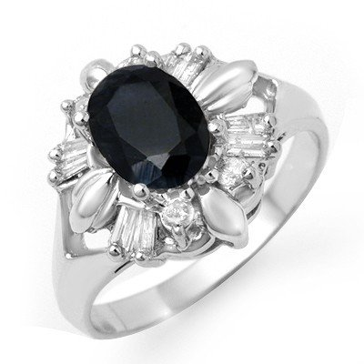 Certified 2.35ct Sapphire & Diamond Ring White Gold
