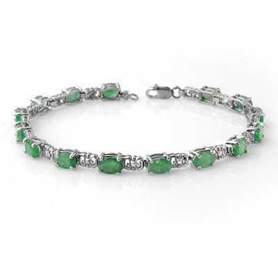 Certified 8.10ctw Emerald Tennis Bracelet White Gold