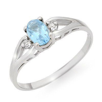 Certified 0.53ctw Blue Topaz & Diamond Ring White Gold