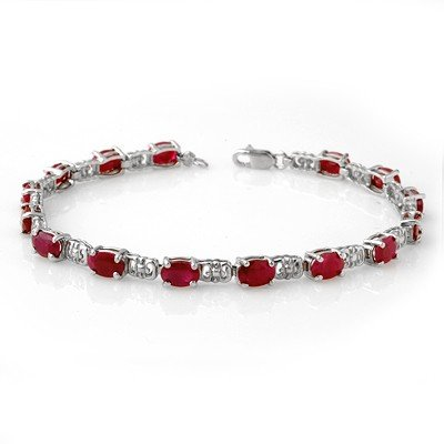 ACA Certified 8.40ctw Ruby Tennis Bracelet White Gold