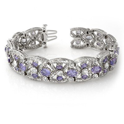 ACA Certified 24.0ctw Tanzanite & Diamond Bracelet Gold