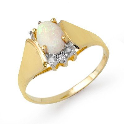Certified .53ctw Opal & Diamond Ladies Ring Yellow Gold